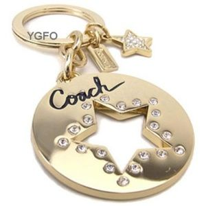 NEW COACH Pierced Pave Gold Star Key chain  Ring